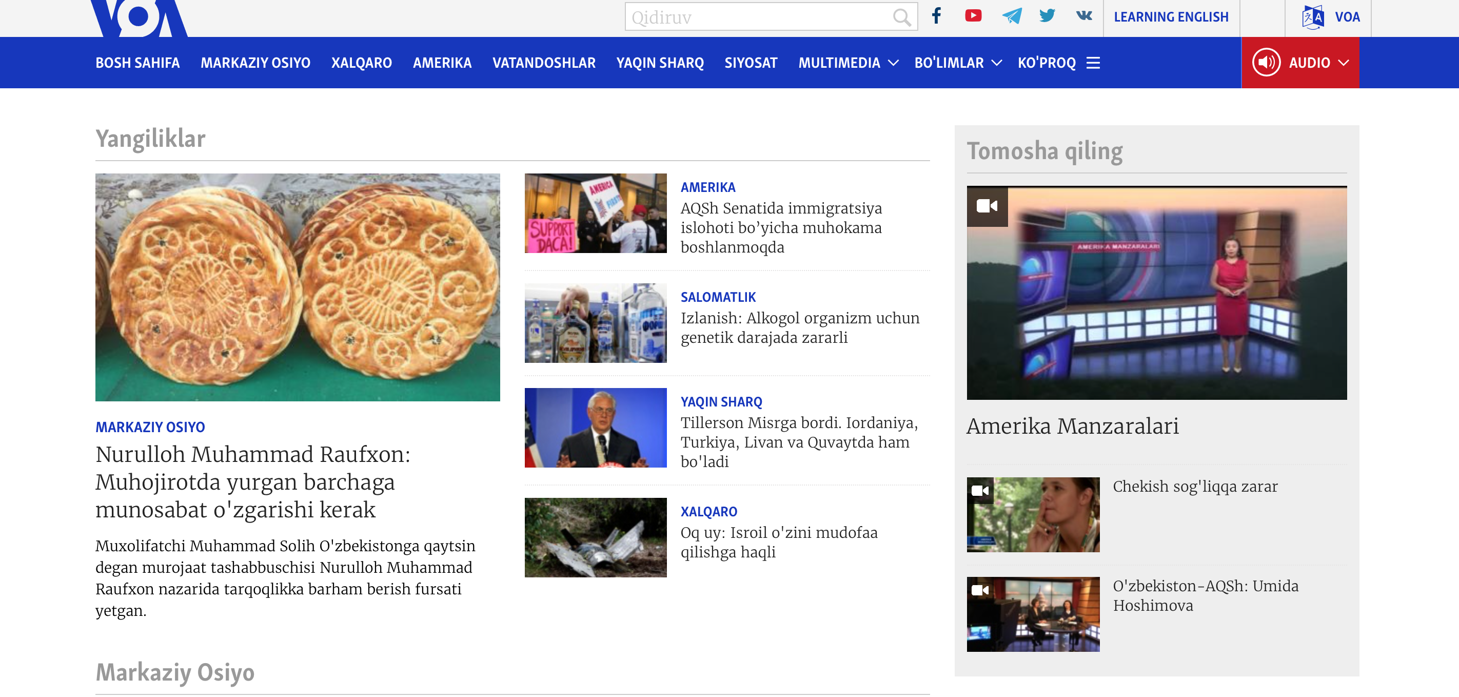 The website for VOA's Uzbek service is one of several that can once again be viewed inside Uzbekistan.
