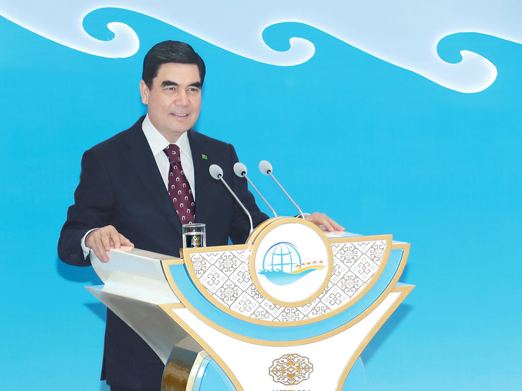 "Turkmenistan's President Gurbanguly Berdimuhamedov gives an address at the international forum ""The Great Silk Road"""