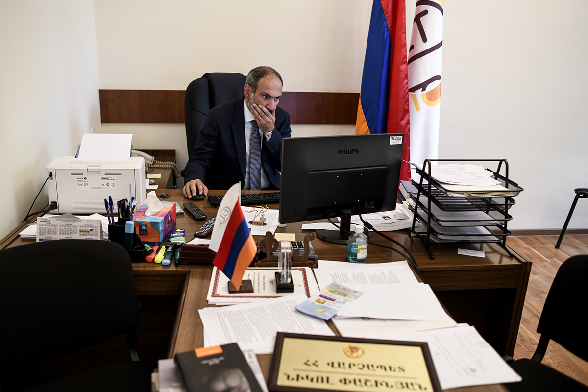 Nikol Pashinyan at his office in the National Parliament on the day he was elected premier. (Photo: Nazik Armenakyan)