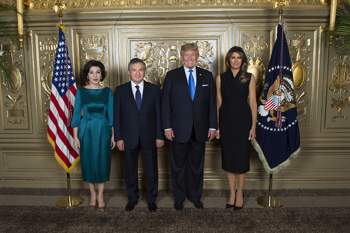 President Shavkat Mirziyoyev and First Lady Ziroatkhon Hoshimova of Uzbekistan with the Trumps at the 2017 UN General Assembly in New York City.
