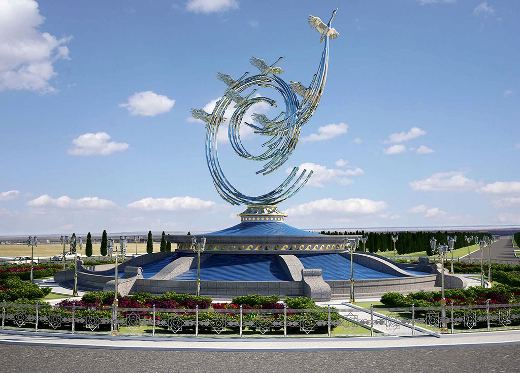 New sculptures adorn the Turkmen 'touristic zone' on the Caspian Sea coast. (Photo: turkmenistan.gov.tm)