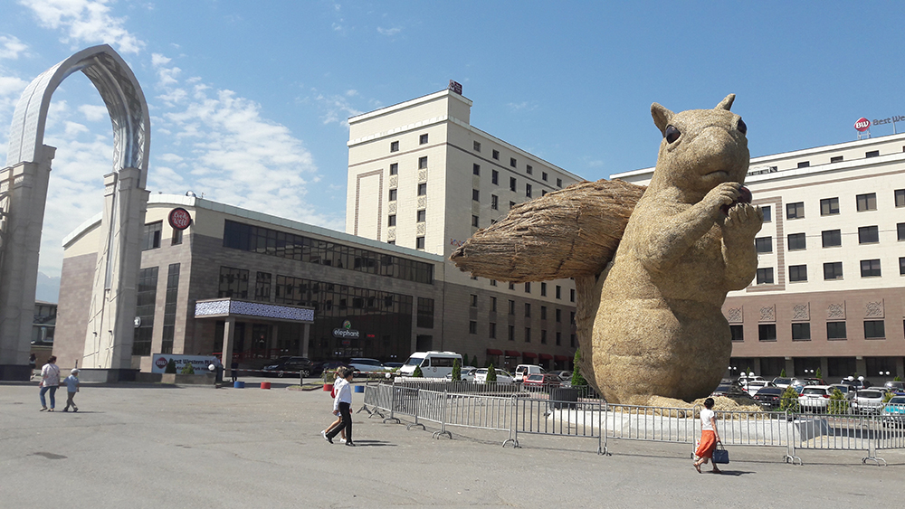 The giant straw squirrel outside Almaty's Atakent Park. (Photo: Paul Bartlett)