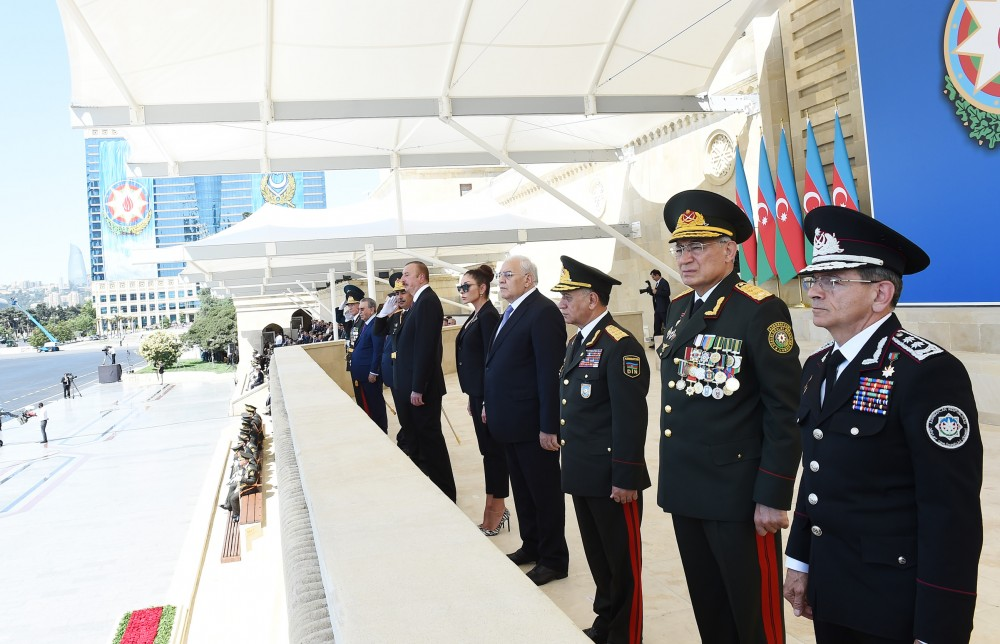 President Ilham Aliyev attends a military parade commemorating the 100th anniversary of Azerbaijani Armed Forces