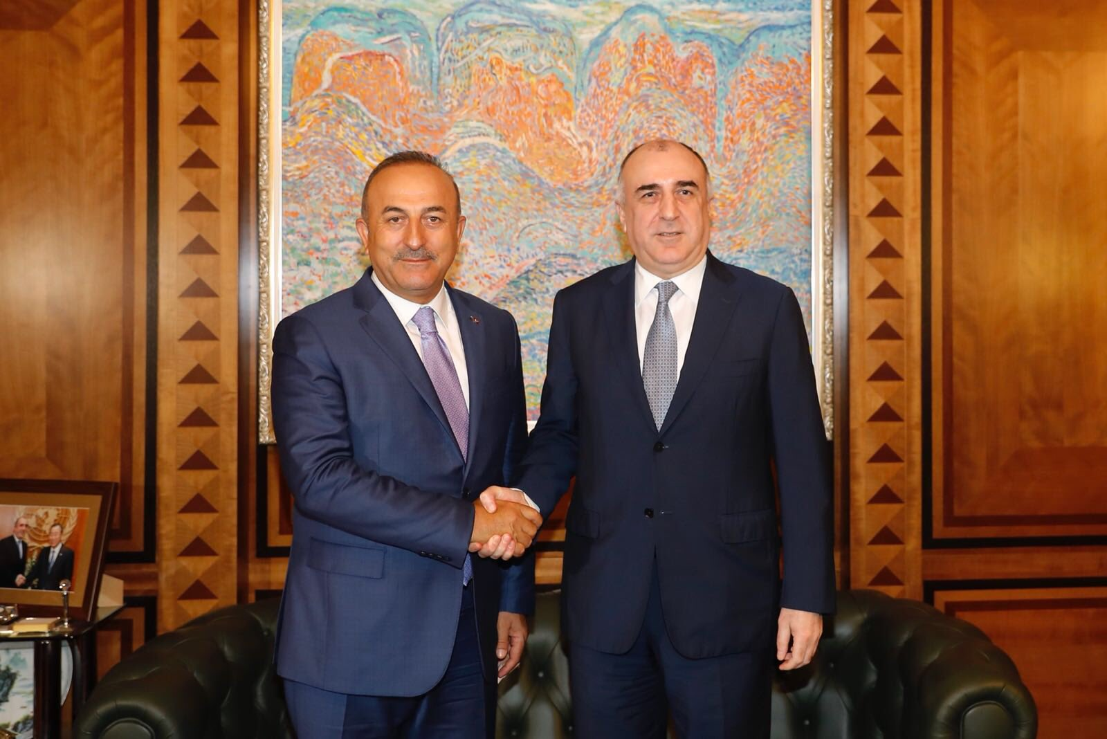 Turkish Foreign Minister Mevlüt Cavuşoğlu and his Azerbaijani counterpart Elmar Mammadyarov meet in Baku on July 24. (photo: https://twitter.com/TC_Disisleri)