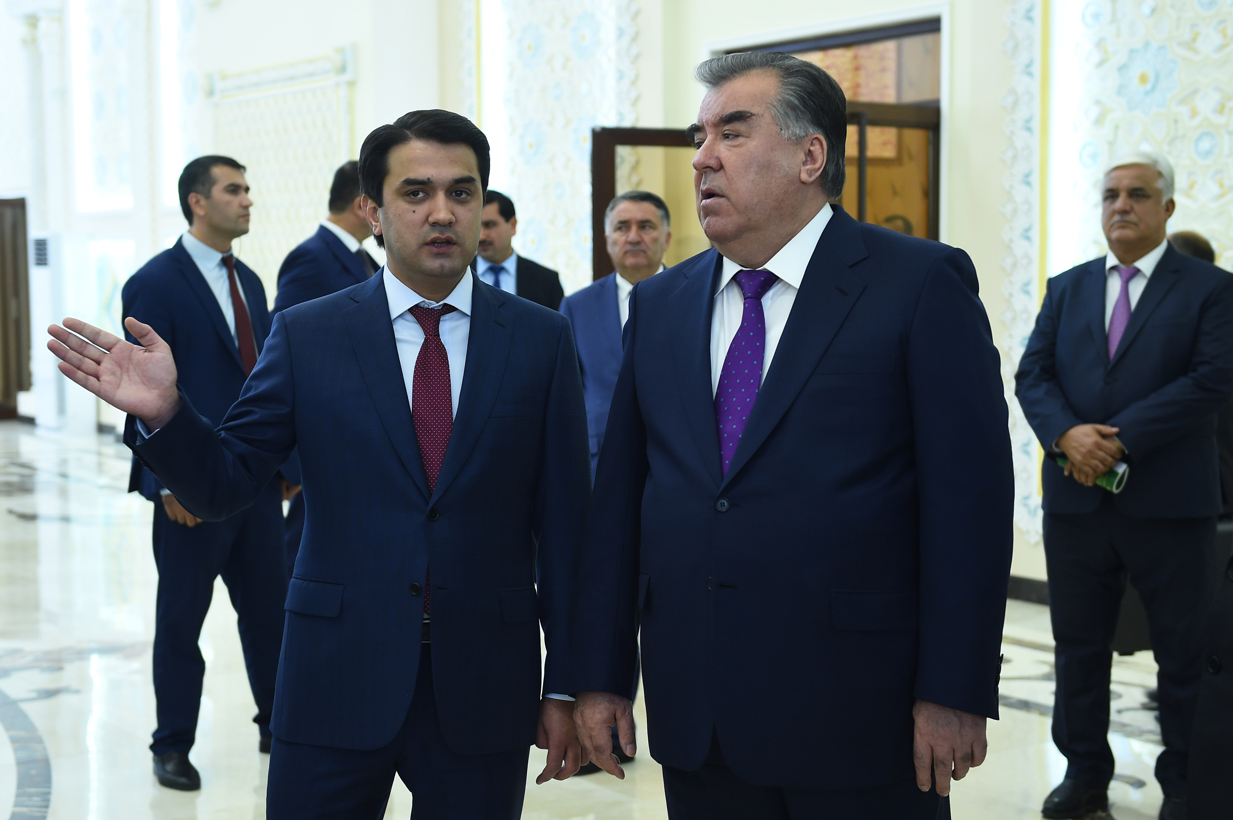 Rustam Emomali, left, together his father, President Emomali Rahmon, at an official event earlier this month. (Photo: Presidential administration Flickr account)