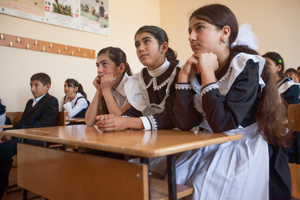 Students in an Azerbaijani-language
