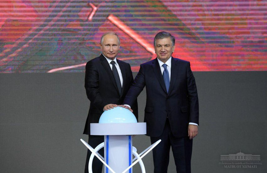 Putin and Mirziyoyev press symbolic button to start project on construction of $11 billion atomic power plant. (Photo: Uzbekistan presidential administration)