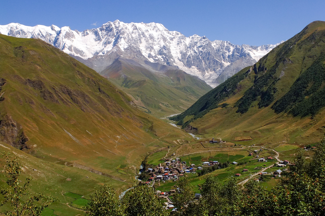 A view of Ushguli's upper villages, toward the hamlet of Zhibiani
