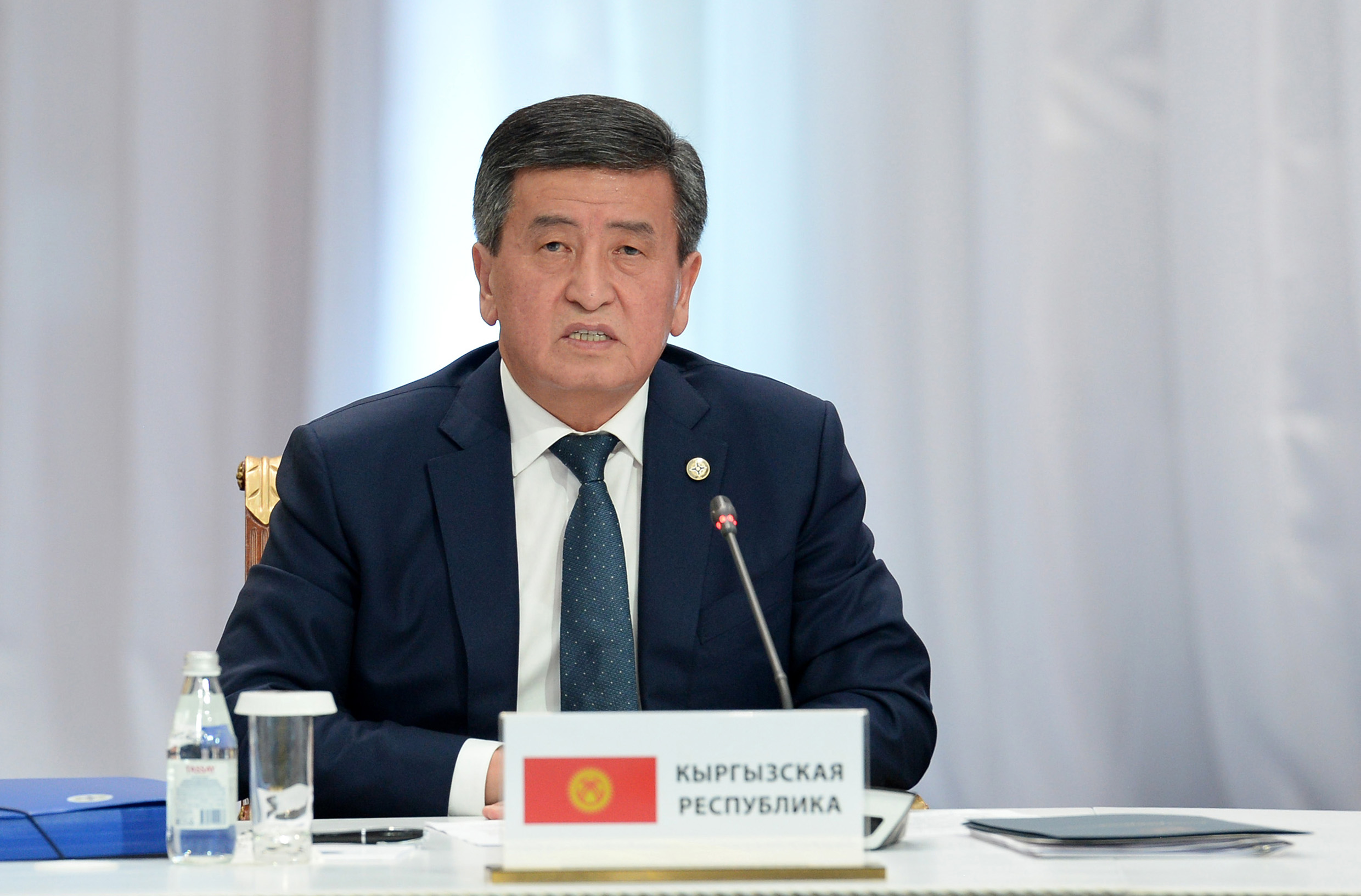 Through gritted teeth: Jeenbekov's administration is trying not to rock the boat on Xinjiang. (Photo: Kyrgyz presidential website)