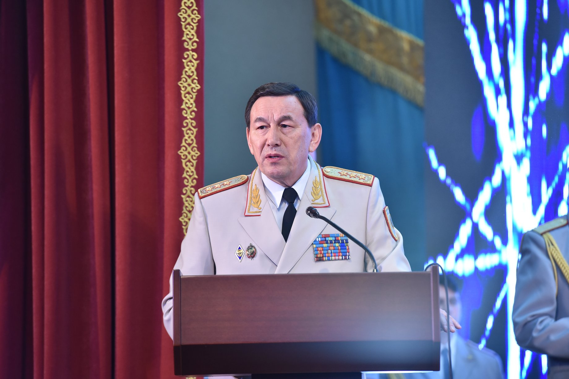 Beancounter: Interior Minister Kalmukhanbet Kasymov says savings will go toward improving salaries for police officers. (Photo: Interior Ministry Facebook account)