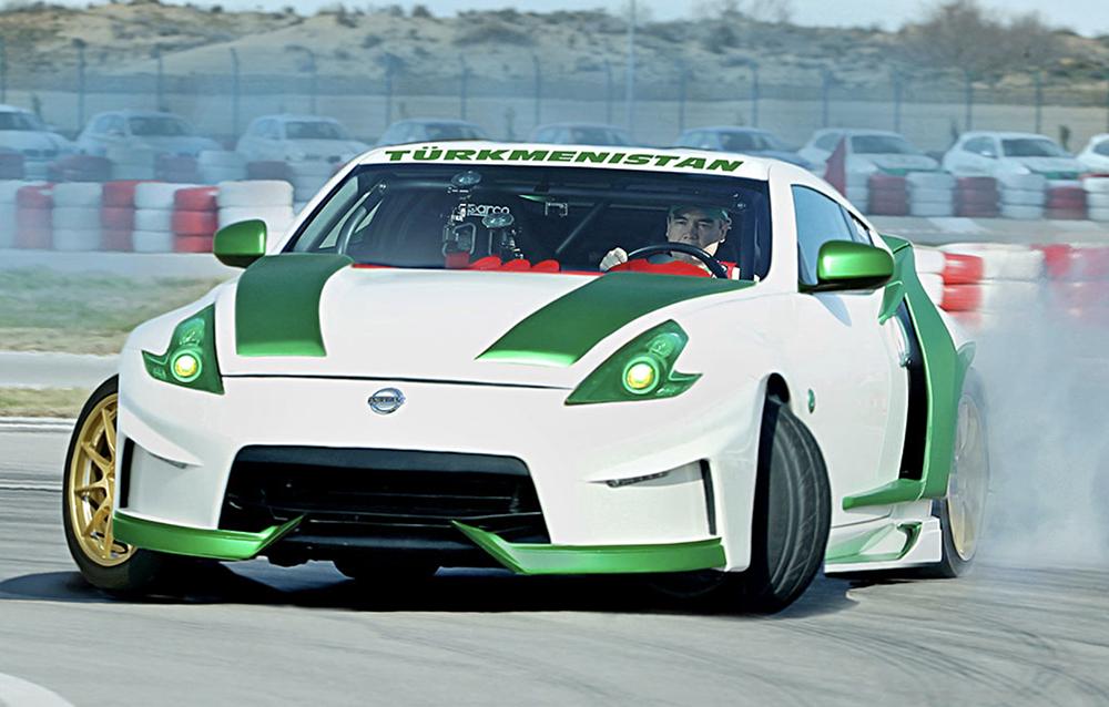 4b2e4df085 Turkmen president Gurbanguly Berdymukhamedov in a race car