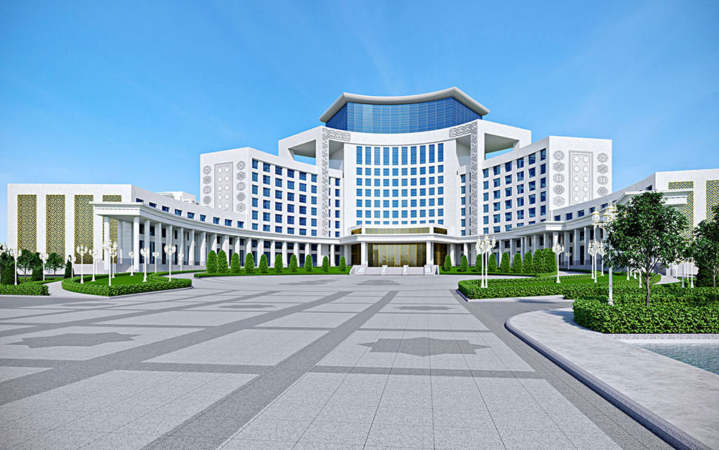 a rendering of a luxury hotel being built in Ashgabat by the French industrial group Bouygues