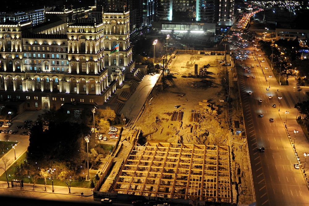 The construction site in front of the Government House in Freedom Square reveals where a parking garage is planned.