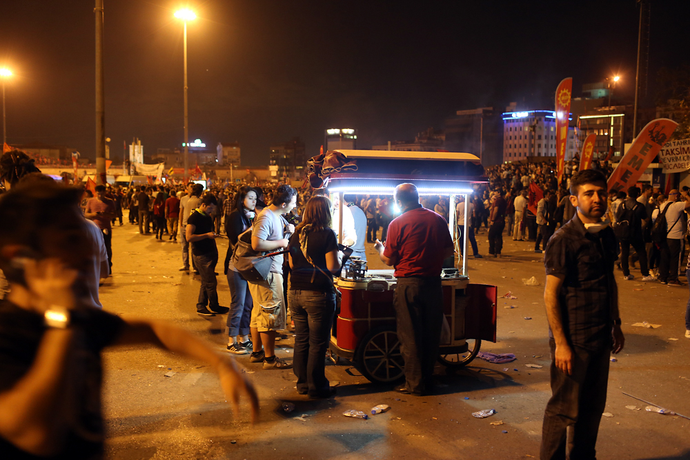 By evening, protestors had taken over Taksim Square.