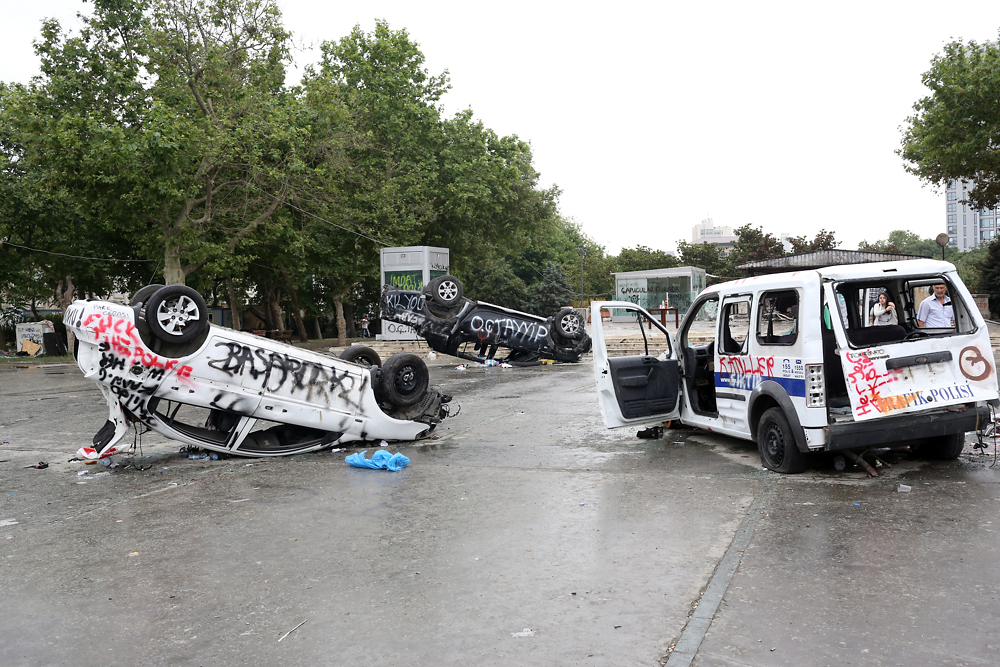 Police and municipality vehicles lay scattered and overturned in the park.