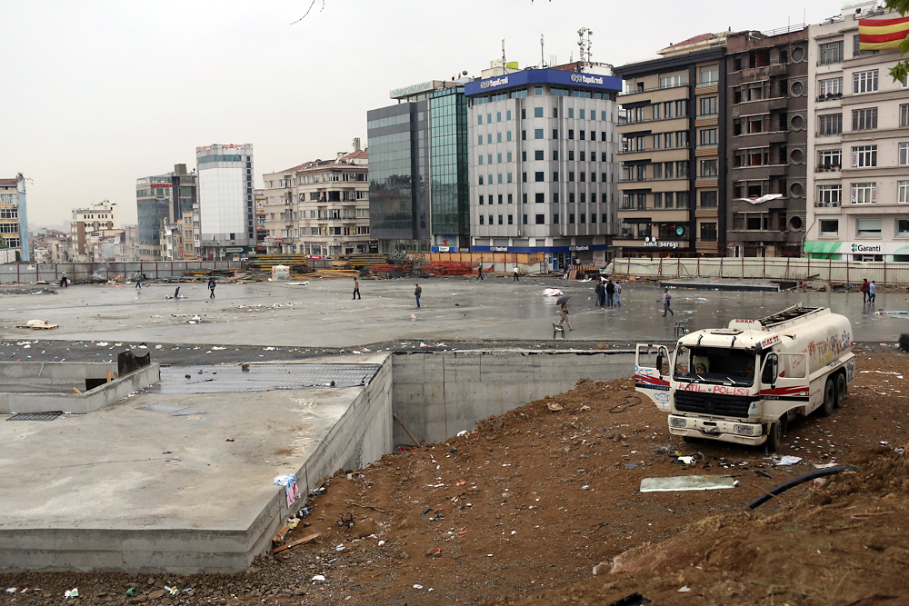The Gezi park construction site is temporarily abandoned following the protests.