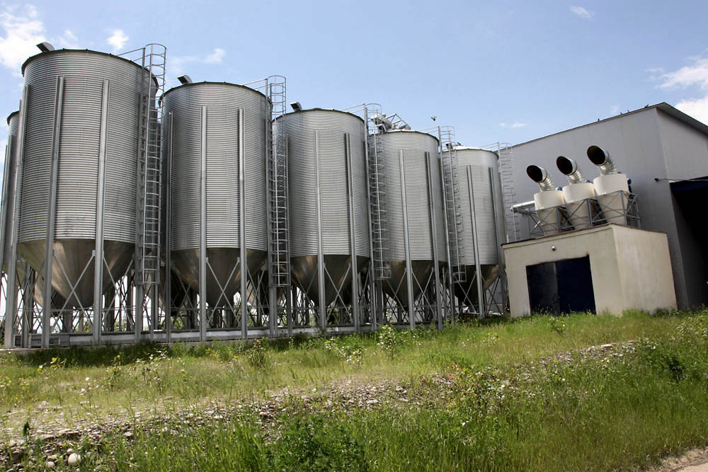 Modern silos are part of the farm run by Kemp and his Georgian partner.
