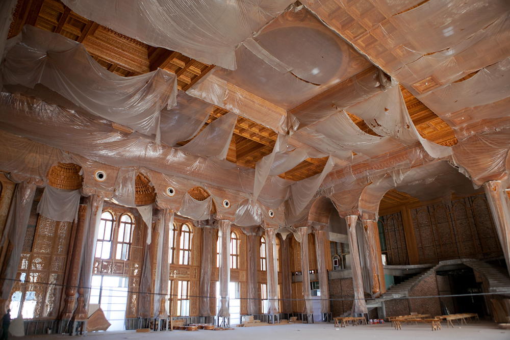 "Details to the walls and ceilings are being finished in  ""the president's dining room."" (Photo: David Trilling)"
