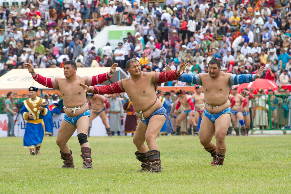"Wrestling draws the biggest crowds during the annual Nadaam celebration of the traditional ""three manly sports."""