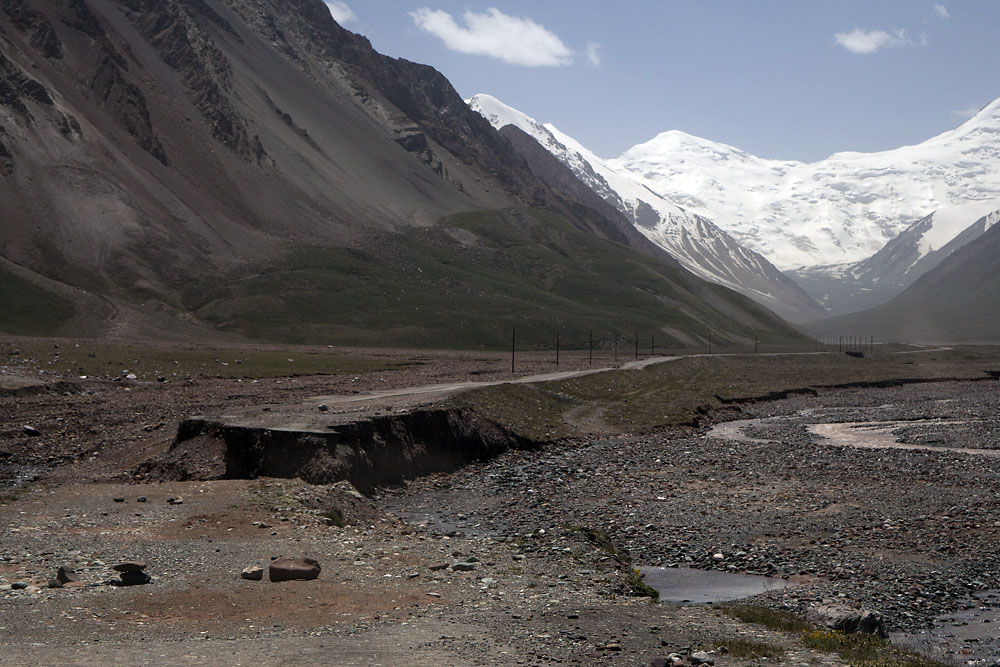 A section of the highway in Kyrgyzstan has been washed away.