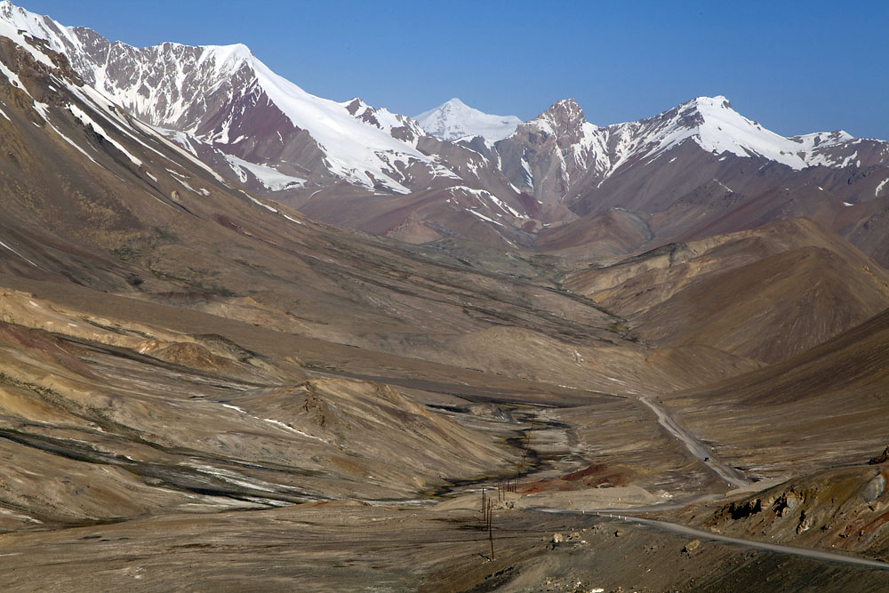 Officially the M41, the Pamir Highway runs 1,252 kilometers between Osh and Dushanbe.