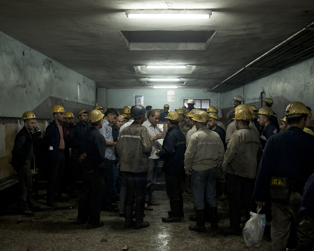Turkish coal diggers arrive for work at the Kozlu mine in Turkey's Zonguldak Province.