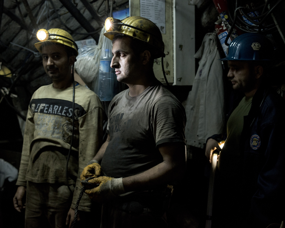 Miners prepare for their day under ground.
