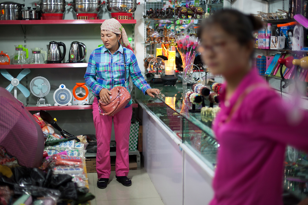 A Kazakhstani woman shops inside the Chinese mall in the Khorgos International Center for Boundary Cooperation.
