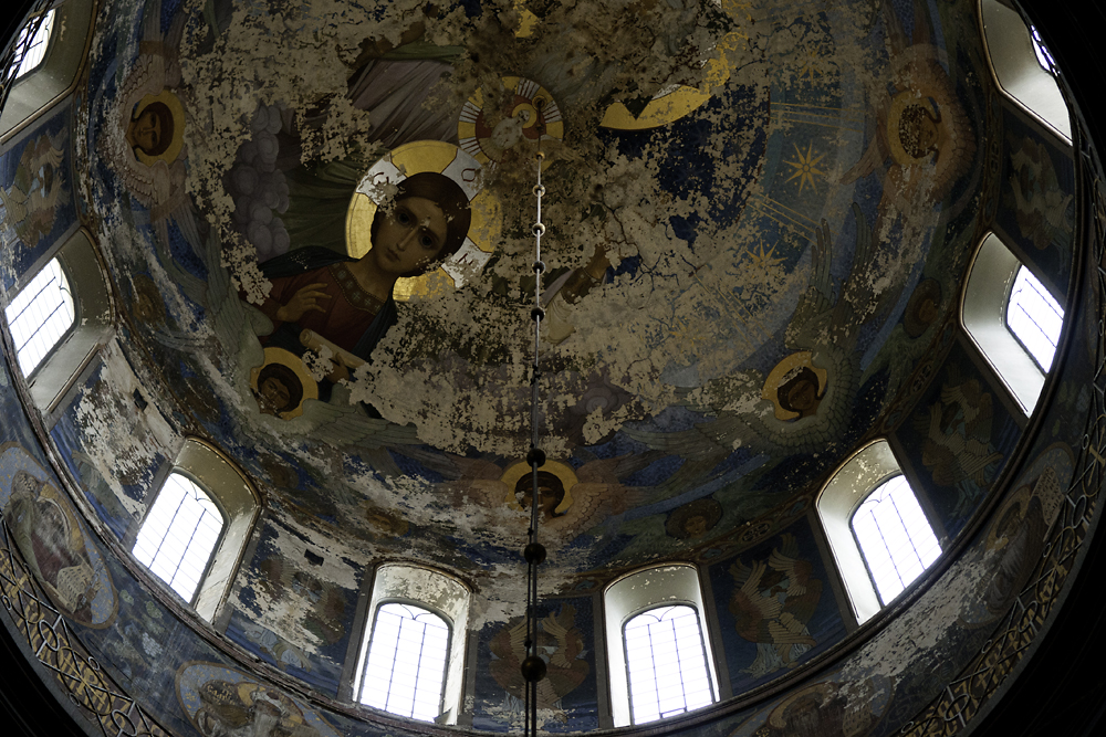 Frescoes in the dome and the rest of the main cathedral at Novy Afon were painted from 1911 to 1914.