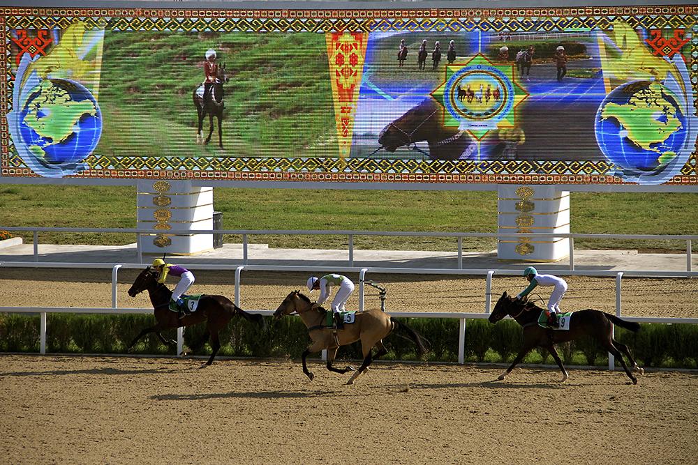Riders Warm Up Their Horses At The 100 Million Ashgabat Hippodrome During A Sunday Afternoon Of Races Photo Agnieszka Pikulicka Wilczewska