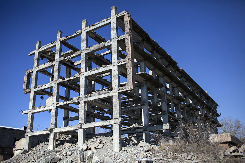 Only the frame of the former Shirak Hotel in Gyumri (formerly Leninakan) remains.