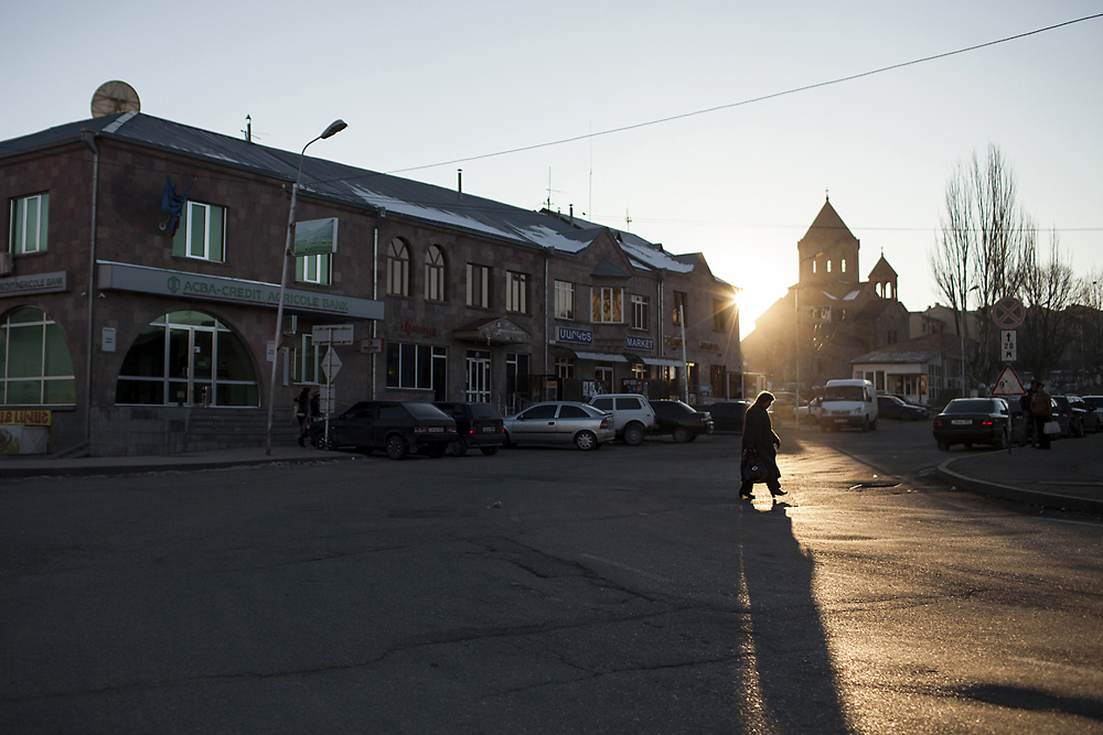 In Spitak's city center new business and residential buildings replaced the collapsed post office.