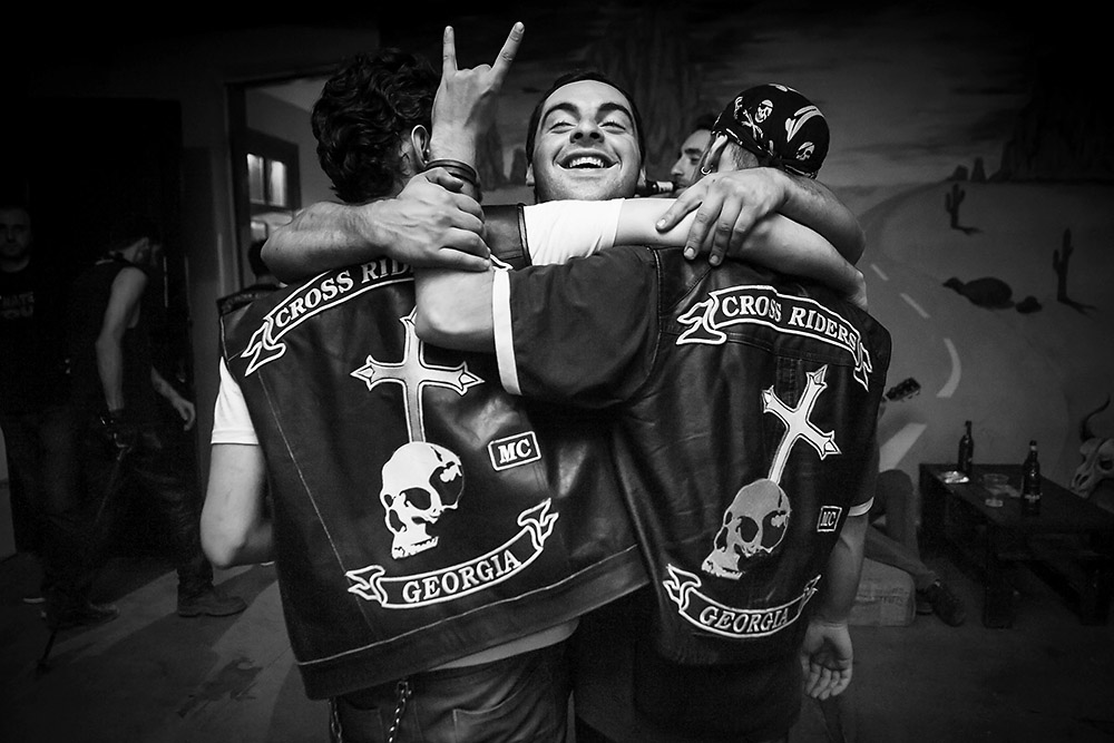 Members of the Cross Riders MC in Tbilisi celebrate the arrival of their jacket patches. (Photo: Onnik Krikorian)