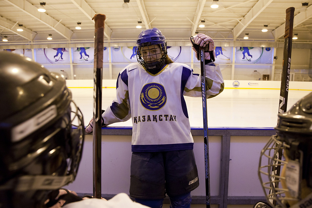 Teenage girls attend ice hockey practice in Ust-Kamenogorsk, Kazakhstan. (Keith Mellnick)