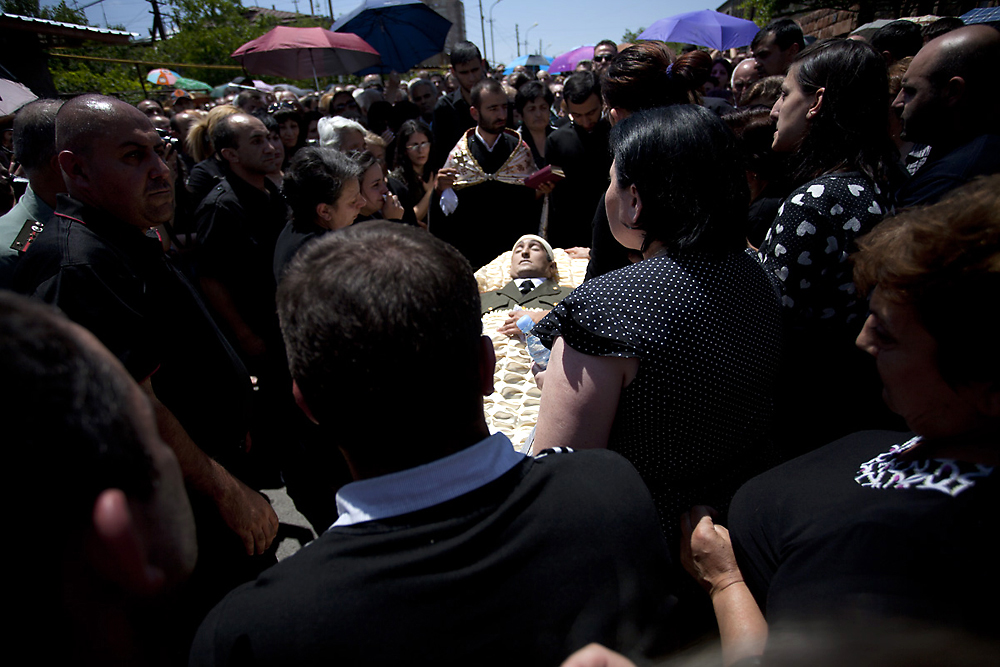 Vahe Avetyan is buried following his brutal beating by security guards at a restaurant in Yerevan. (Anahit Hayrapetyan)