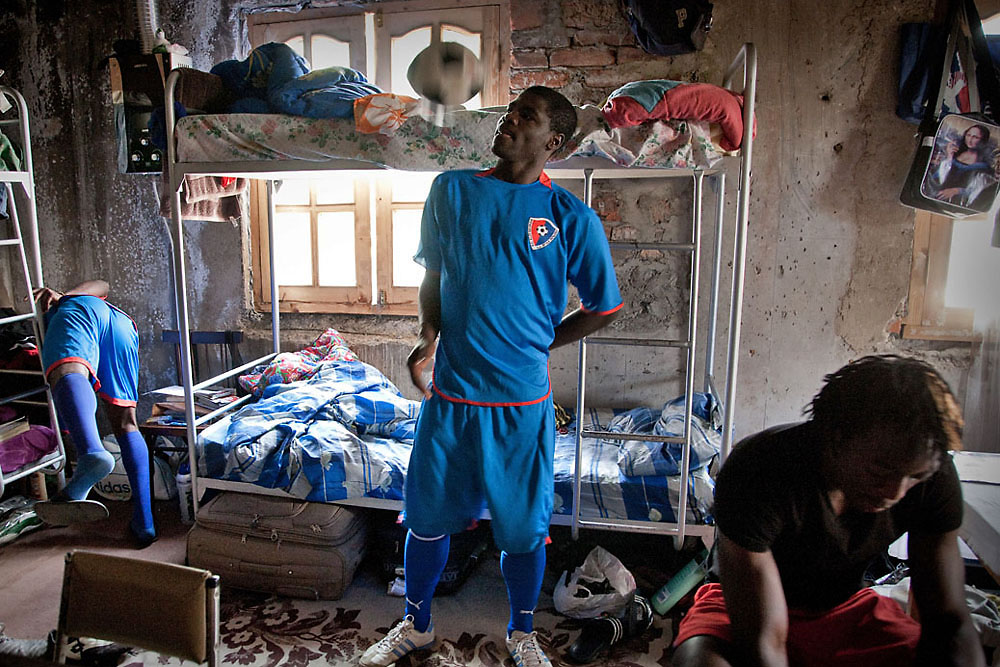 Several Nigerians live together in Tbilisi, where they hope to become professional soccer players. (Justyna Mielnikiewicz)