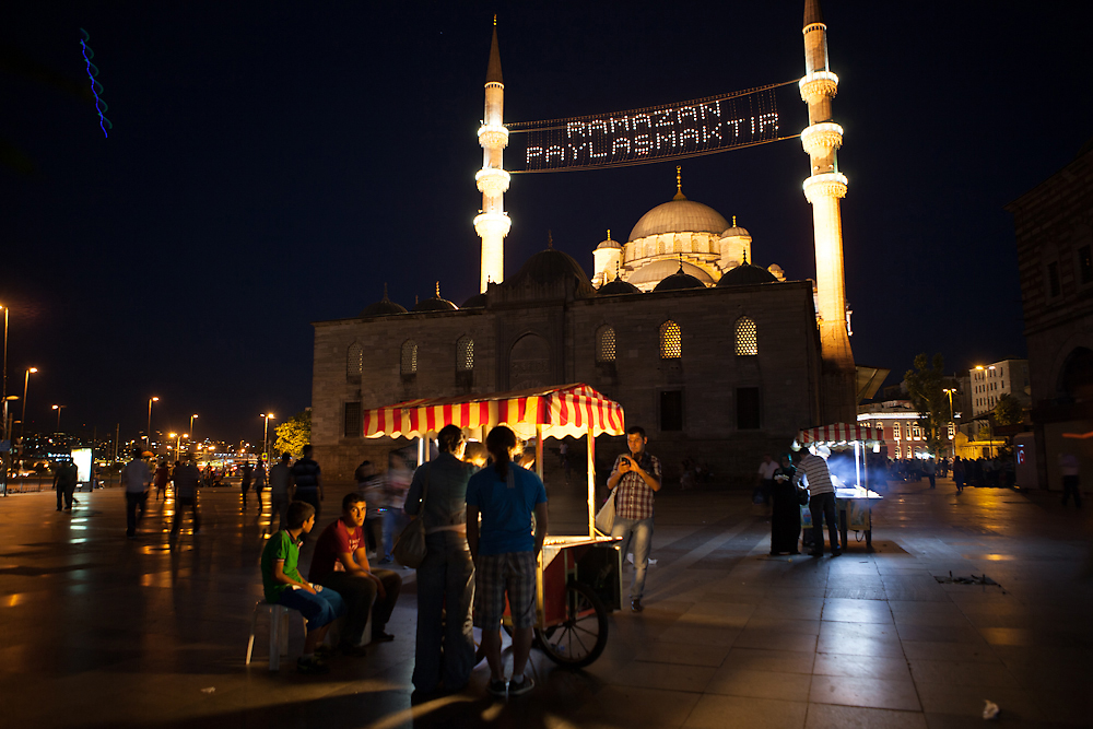"""Ramadan is sharing"" the lights proclaim on an Istanbul mosque. (Jonathan Lewis)"