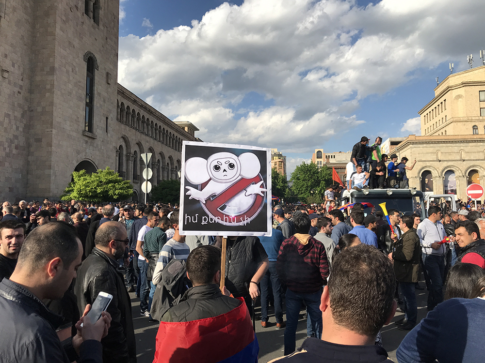 revelers take to the streets of Yerevan after Sargsyan resigns on April 23