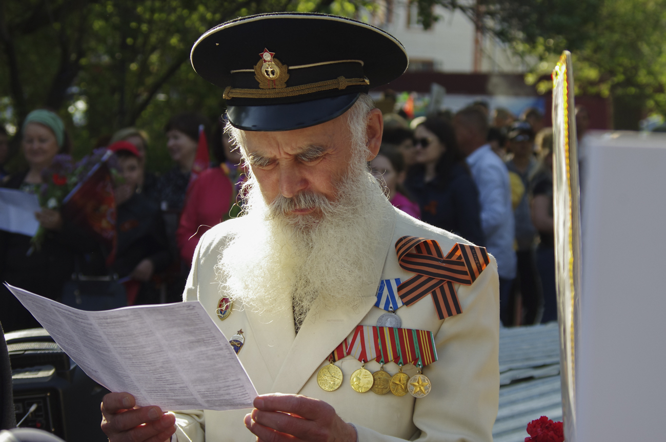 A Red Army veteran, wearing a St. George ribbon, at the Immortal Regiment march in Oral, Kazakhstan