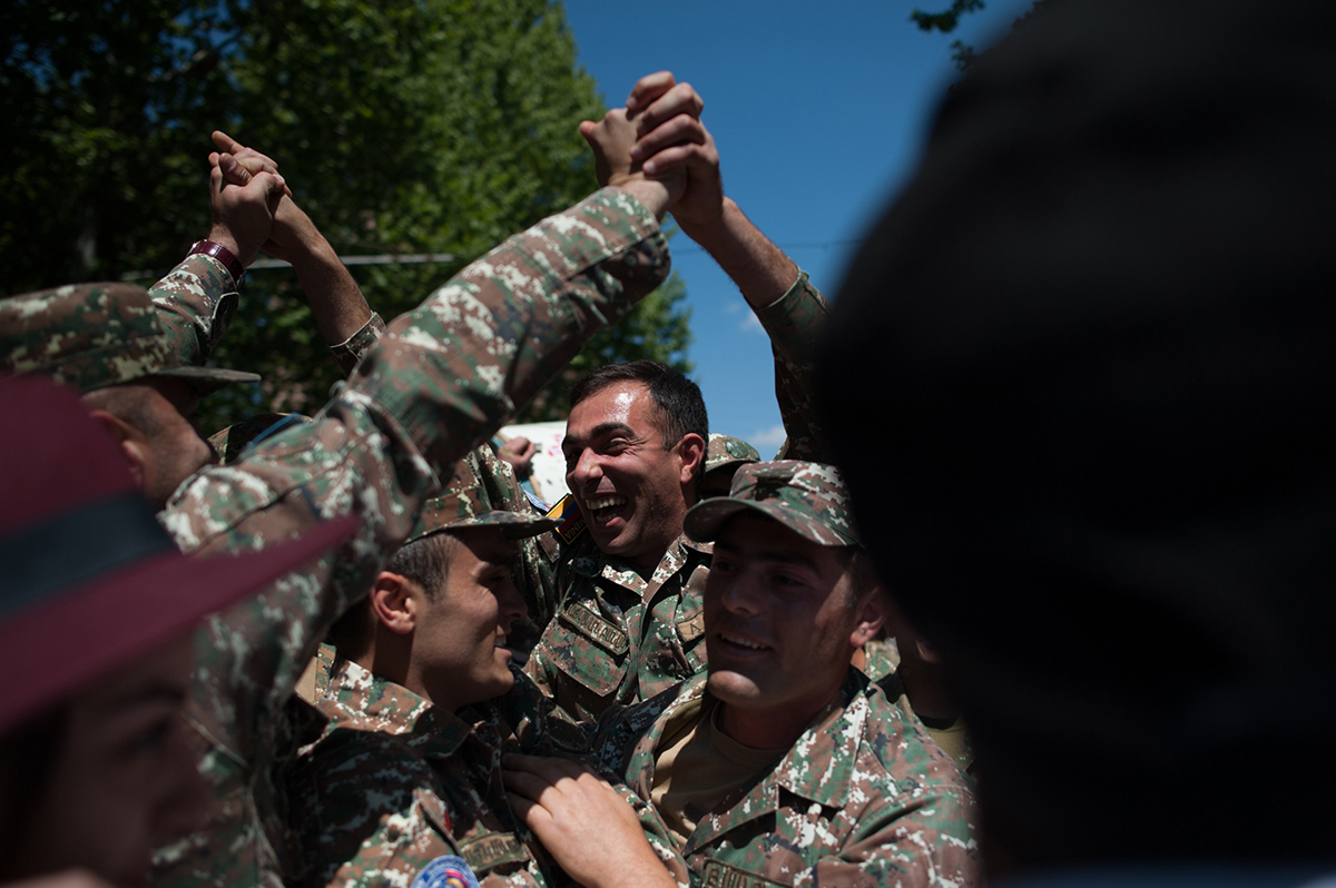 During the demonstration soldiers joined people. Photo Nazik Armenakyan