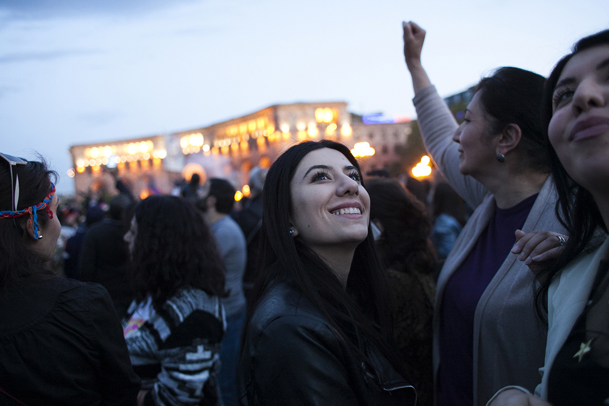 Revelers who celebrated in Yerevan's Republic square were all smiles. (Photo by Inna Mkhitaryan)