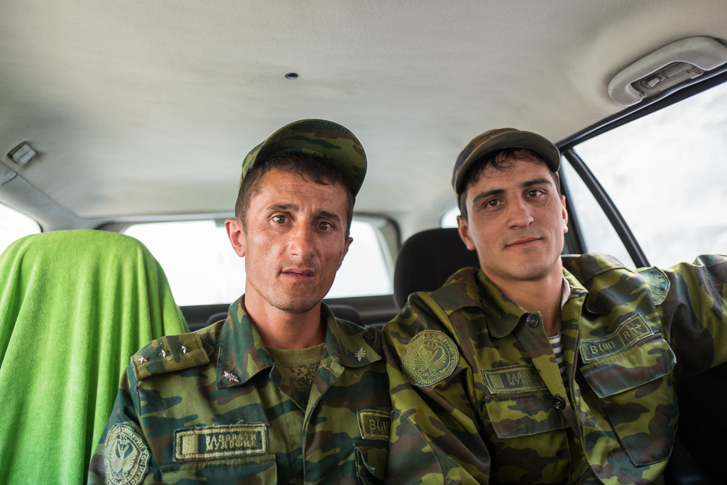 These Tajik soldiers are guarding the border with Afghanistan, which is marked by the Panj River