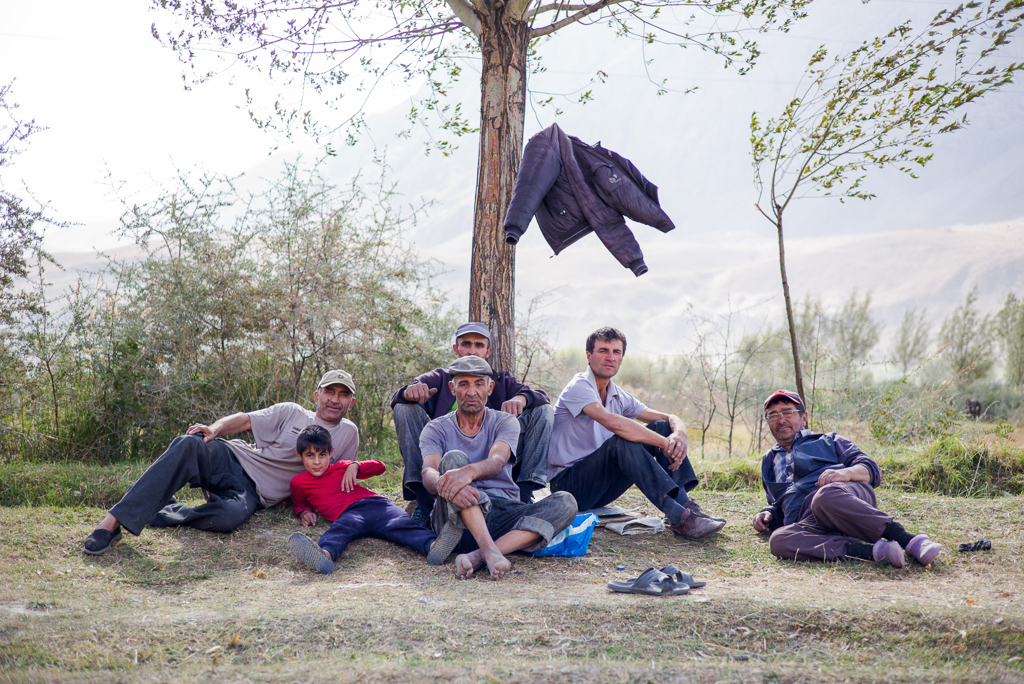 A group of farmers take a break close to Khorog