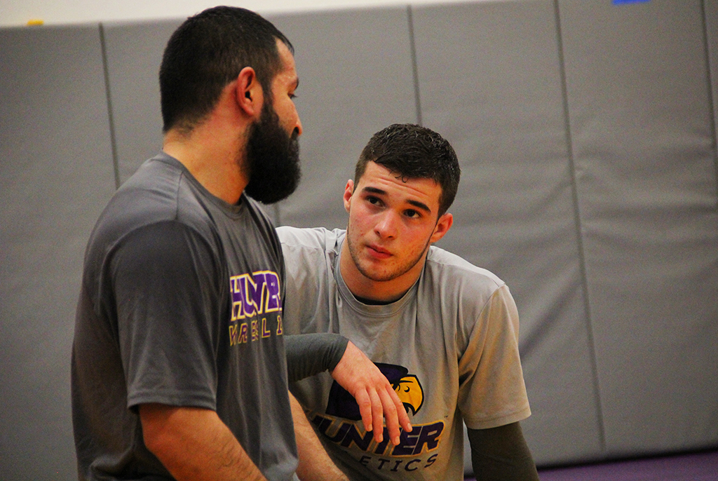 Gevorg Arakelov speaking with his Hunter College coach, MarcAntoni Macias