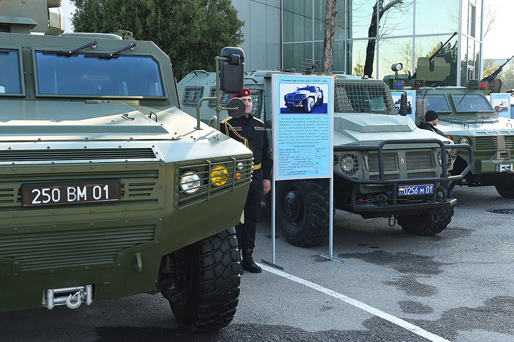 Dushanbe shows off new Chinese military vehicles last month. (Tajik presidential administration)
