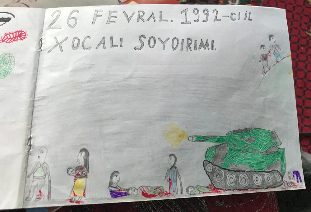 "A child's drawing commemorating the ""Khojaly Genocide."""