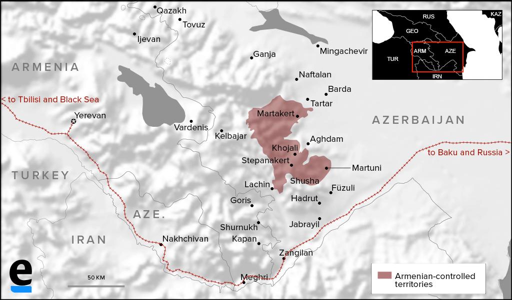 Caucasus railway map