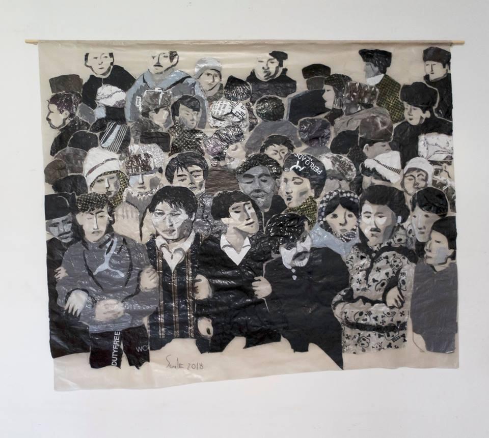 """Zheltoksan"" by Saule Suleimenova: a montage of plastic bags named for the 1986 violence in Almaty. (courtesy of the artist)"