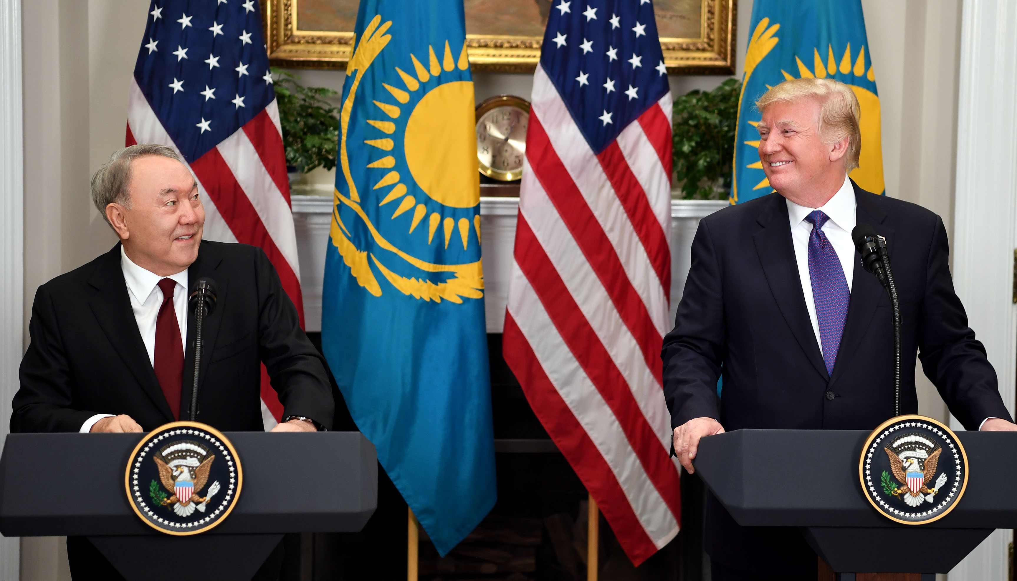 Nursultan Nazarbayev and Donald Trump at a joint press conference at the White House on January 16, 2018. (Kazakhstan Presidential Administration)