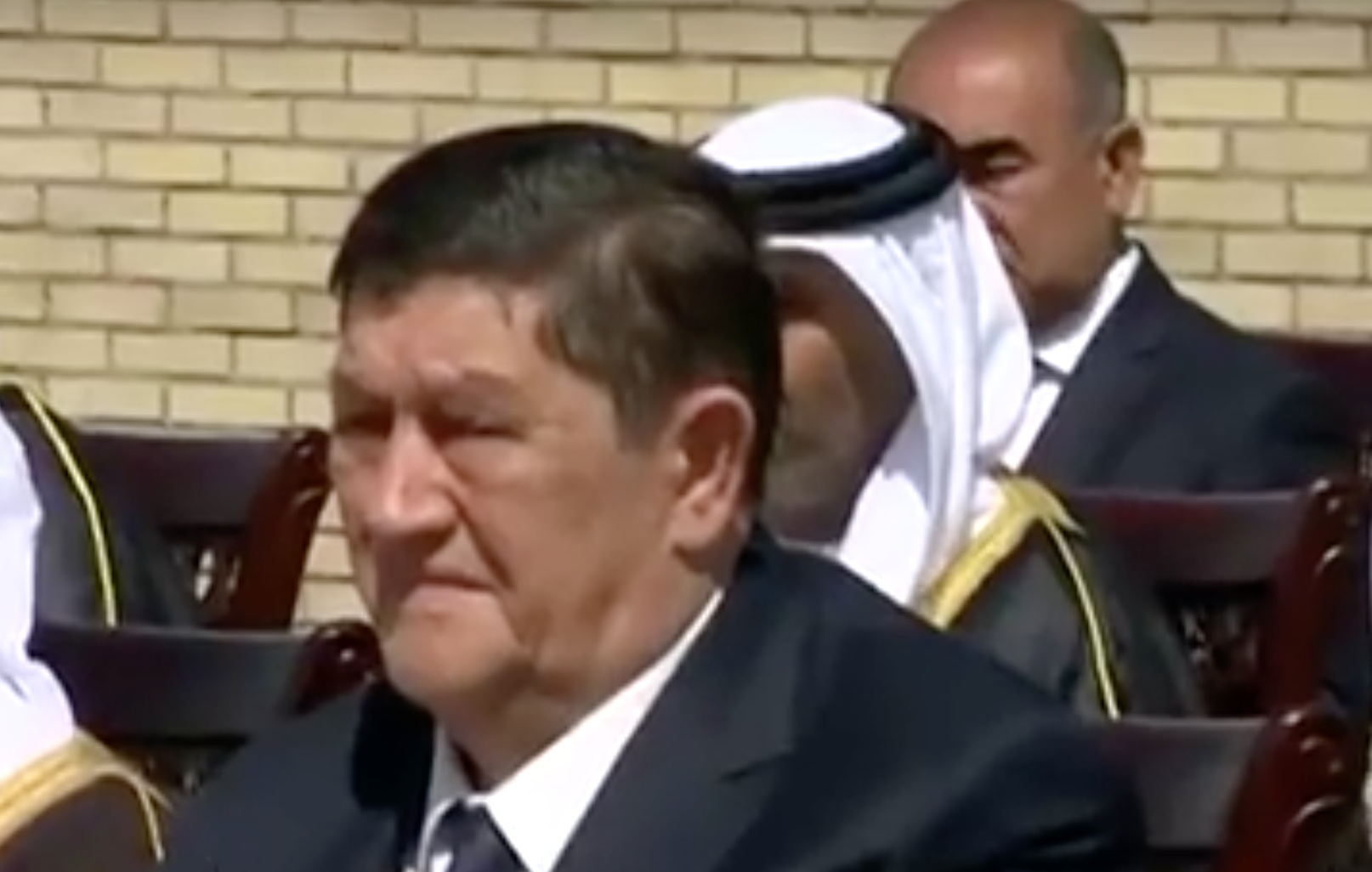 Rustam Inoyatov, seen here in a rare televised appearance in September 2016, has stepped down as head of the National Security Services.